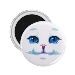 Cute White Cat Blue Eyes Face 2.25  Magnets