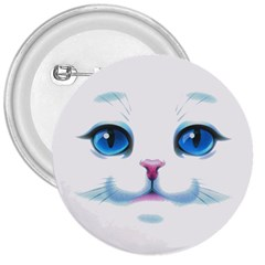 Cute White Cat Blue Eyes Face 3  Buttons