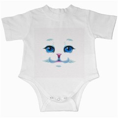 Cute White Cat Blue Eyes Face Infant Creepers