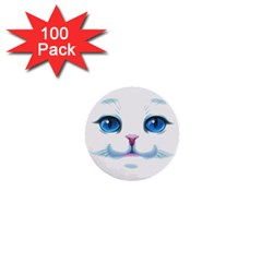 Cute White Cat Blue Eyes Face 1  Mini Buttons (100 pack)