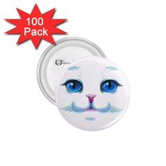 Cute White Cat Blue Eyes Face 1 75  Buttons (100 Pack)