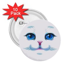 Cute White Cat Blue Eyes Face 2 25  Buttons (10 Pack)