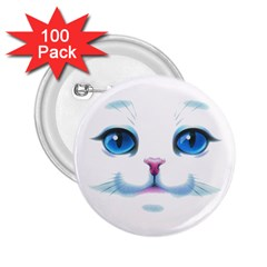 Cute White Cat Blue Eyes Face 2 25  Buttons (100 Pack)