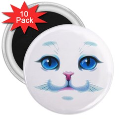 Cute White Cat Blue Eyes Face 3  Magnets (10 pack)