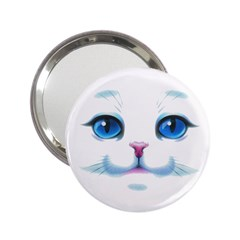 Cute White Cat Blue Eyes Face 2.25  Handbag Mirrors