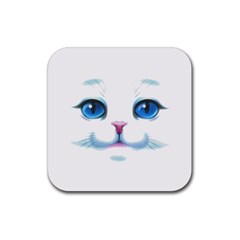 Cute White Cat Blue Eyes Face Rubber Square Coaster (4 Pack)
