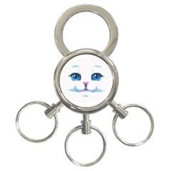 Cute White Cat Blue Eyes Face 3-Ring Key Chains
