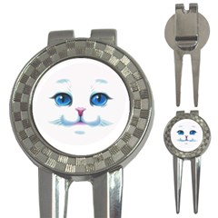 Cute White Cat Blue Eyes Face 3 In 1 Golf Divots