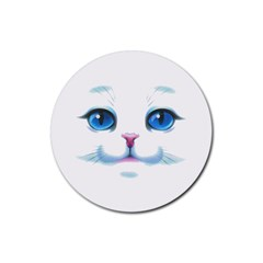Cute White Cat Blue Eyes Face Rubber Round Coaster (4 Pack)
