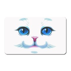 Cute White Cat Blue Eyes Face Magnet (rectangular)