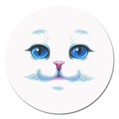 Cute White Cat Blue Eyes Face Magnet 5  (round)