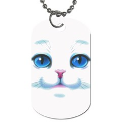 Cute White Cat Blue Eyes Face Dog Tag (one Side)