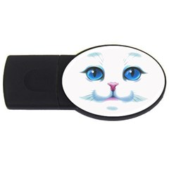 Cute White Cat Blue Eyes Face Usb Flash Drive Oval (2 Gb)