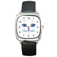 Cute White Cat Blue Eyes Face Square Metal Watch