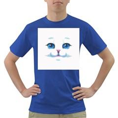 Cute White Cat Blue Eyes Face Dark T Shirt
