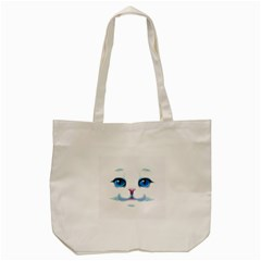 Cute White Cat Blue Eyes Face Tote Bag (cream)