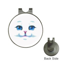 Cute White Cat Blue Eyes Face Hat Clips With Golf Markers