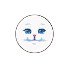 Cute White Cat Blue Eyes Face Hat Clip Ball Marker (4 pack)