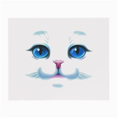 Cute White Cat Blue Eyes Face Small Glasses Cloth