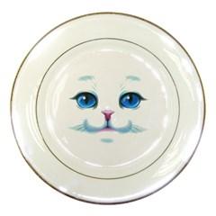 Cute White Cat Blue Eyes Face Porcelain Plates