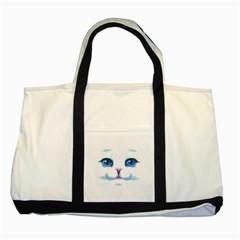 Cute White Cat Blue Eyes Face Two Tone Tote Bag