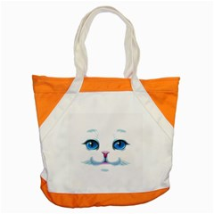 Cute White Cat Blue Eyes Face Accent Tote Bag