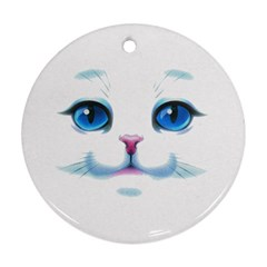 Cute White Cat Blue Eyes Face Round Ornament (Two Sides)