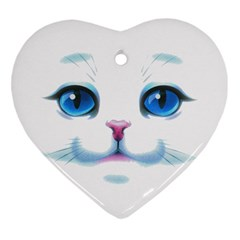 Cute White Cat Blue Eyes Face Heart Ornament (Two Sides)