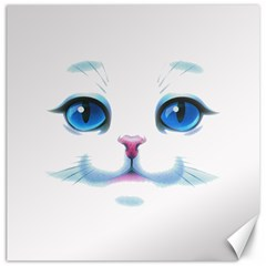 Cute White Cat Blue Eyes Face Canvas 12  x 12