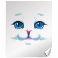 Cute White Cat Blue Eyes Face Canvas 16  X 20