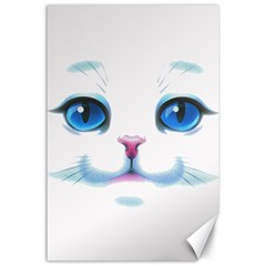Cute White Cat Blue Eyes Face Canvas 24  X 36