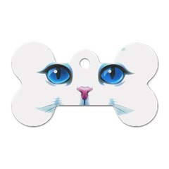 Cute White Cat Blue Eyes Face Dog Tag Bone (two Sides)