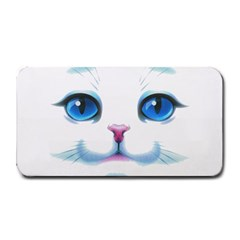 Cute White Cat Blue Eyes Face Medium Bar Mats