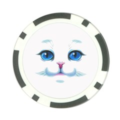 Cute White Cat Blue Eyes Face Poker Chip Card Guard