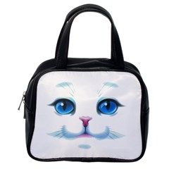 Cute White Cat Blue Eyes Face Classic Handbags (One Side)