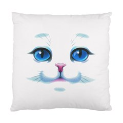 Cute White Cat Blue Eyes Face Standard Cushion Case (two Sides)
