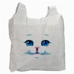 Cute White Cat Blue Eyes Face Recycle Bag (two Side)