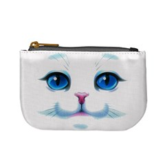 Cute White Cat Blue Eyes Face Mini Coin Purses