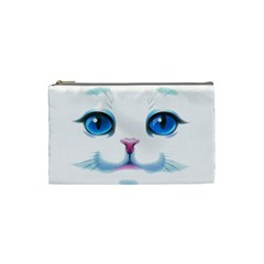 Cute White Cat Blue Eyes Face Cosmetic Bag (small)