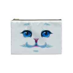 Cute White Cat Blue Eyes Face Cosmetic Bag (Medium)
