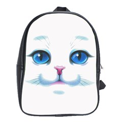 Cute White Cat Blue Eyes Face School Bags(large)