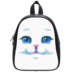Cute White Cat Blue Eyes Face School Bags (small)