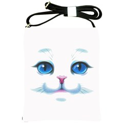 Cute White Cat Blue Eyes Face Shoulder Sling Bags