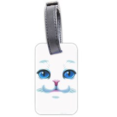 Cute White Cat Blue Eyes Face Luggage Tags (one Side)