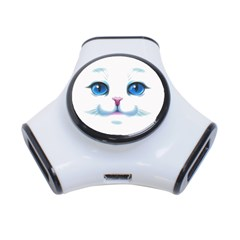 Cute White Cat Blue Eyes Face 3 Port Usb Hub