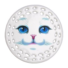 Cute White Cat Blue Eyes Face Ornament (round Filigree)