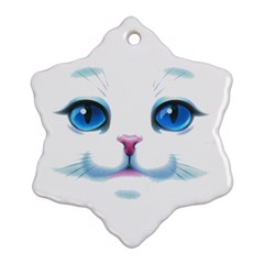 Cute White Cat Blue Eyes Face Snowflake Ornament (two Sides)