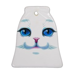 Cute White Cat Blue Eyes Face Bell Ornament (two Sides)