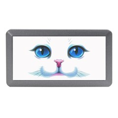 Cute White Cat Blue Eyes Face Memory Card Reader (mini)