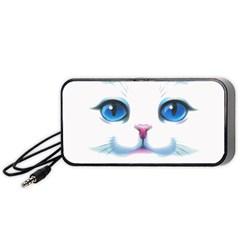 Cute White Cat Blue Eyes Face Portable Speaker (black)